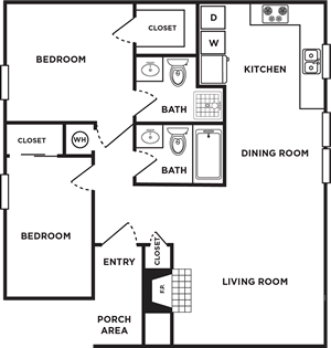 Two Bedrooms / Two Bath - 900 Sq. Ft.*